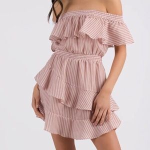 Dresses & Skirts - Striped Ruffled Off Shoulder Dress 🎀